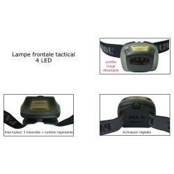 Equipement Militaire Lampe frontale tactical PATROL 4 LED - LAMF20 - OUTDOOR