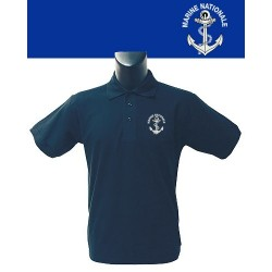 Equipement Militaire Polo bleu marine sérigraphié MARINE NATIONALE - POLOSERIMMN - SECURITE